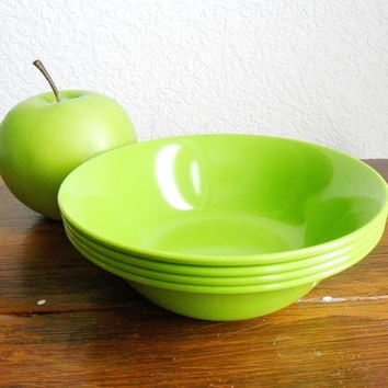 Texas Ware Bowls Apple Green Dessert Fruit Retro 1960s Plastic Melmac Melamine Bowl Set of 4 Mid Century Plastic