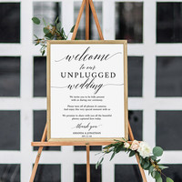 Unplugged Ceremony Wedding Sign. Editable Wedding Sign Decor, Modern Calligraphy For a Simple Wedding. Lovely Calligraphy, Modern Wedding