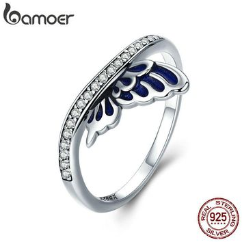 BAMOER Genuine 100% 925 Sterling Silver Butterfly Fairy Wings Finger Rings for Women Wedding Engagement Jewelry Gift SCR330