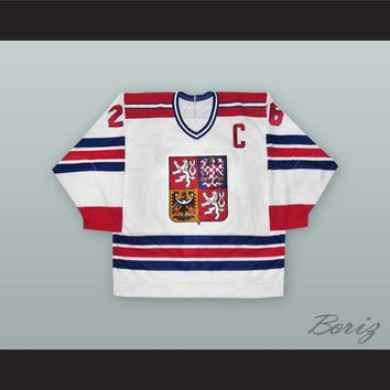 Robert Reichel 26 Czech Republic National Team White Hockey Jersey