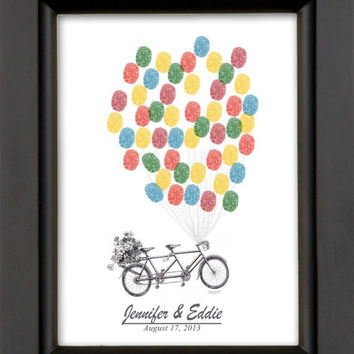 Thumbprint Wedding Guest Book Alternative Fingerprint Tandem Bicycle Bicycle with balloons sign in Keepsake Wedding Gift / Includes Ink Pad