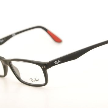 New Authentic Ray Ban RB 5277 2077 Matte Black/Red 54mm Frames Eyeglasses RX