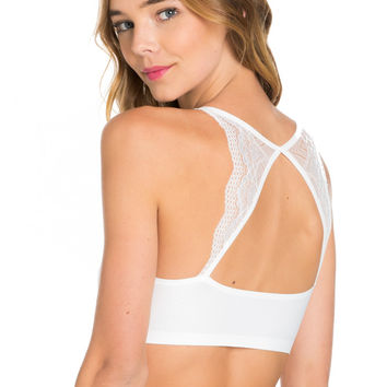 White Lace Trim Open Back Jersey Mesh Sports Bra