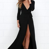 Women Long Sleeve Evening Formal Cocktail Party Ball Gown Bridesmaid Maxi Dress