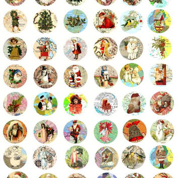 Christmas around the world maps santa clause st nick children winter clip art collage sheet 1 INCH circles
