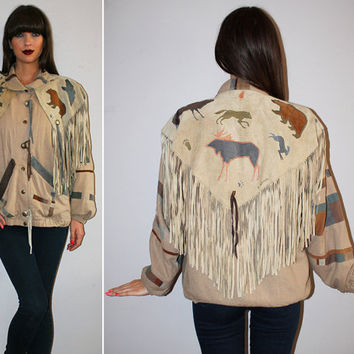 Vintage 80s FRINGE Jacket / Southwestern OVERSIZED Suede + Linen / Handpainted, Cutout Bears, Coyotes, Eagle, Moose / Western, Rustic