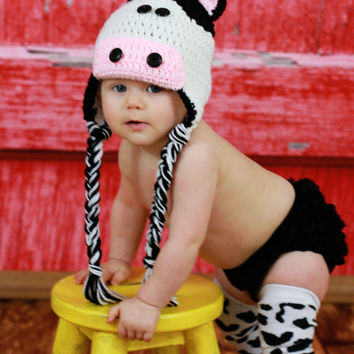 Black and White Cow Earflap Hat by makinitmama on Etsy