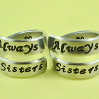 Always Sisters - Spiral Rings Set, Hand Stamped, Shiny Aluminum Rings, Friendship, BFF Gift, Script Font Version