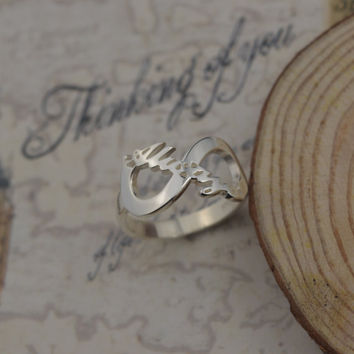 Personalized Infinity Ring ,Carrie Style Infinity Name Ring, silver  Name Ring with Infinity Symbol Ring,Promise Ring,gift for her