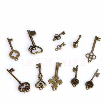 New 11Pcs Antique Vintage Pendant 45615Heart Bow Lock Steampunk Old Look Skeleton Key Set