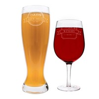 Personalized Mom & Dad XL Beer and Wine Glass Set