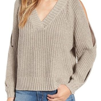 Leith Ribbed Cold Shoulder Sweater | Nordstrom