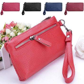 Purse Leather Clutches Zipper Handbags Wallet Women's package wallets  7_S = 1917034692
