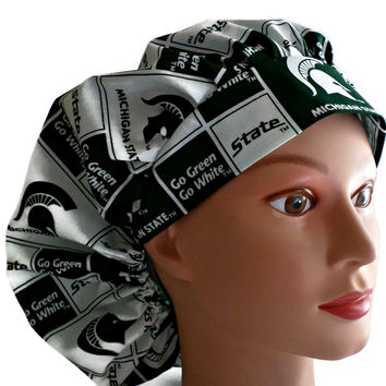 Women's Bouffant, Pixie, or Ponytail Surgical Scrub Hat Cap in Michigan Spartans Squares