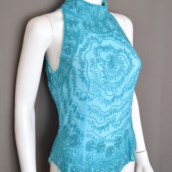 Full Sequin Beaded Sleeveless Halter High Collar Evening Top Teal Blue Green (Vintage)