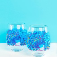 Lilly Pulitzer Acrylic Stemless Wine Glass Set-Lilly's Lagoon