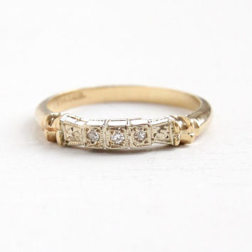 Vintage 14k Yellow & White Gold Diamond Wedding Band Ring - Art Deco 1930s Size 6 1/4 Two Tone Bridal Fine Jewelry, Flower Accents