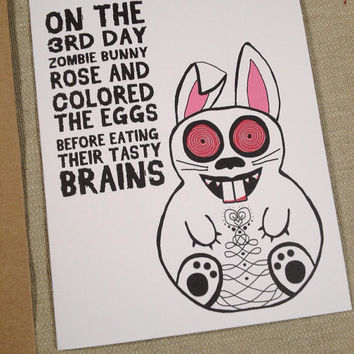 Zombie bunny Easter card