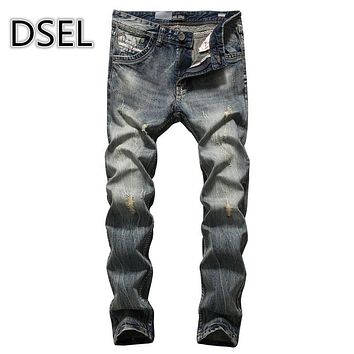 High Quality Men`s Jeans Ripped Pants Original Dsel Brand Jeans Denim Trousers With Logo Distressed Jeans Men 708