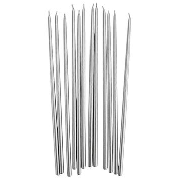 Tall Silver Hand Dipped Birthday Candles