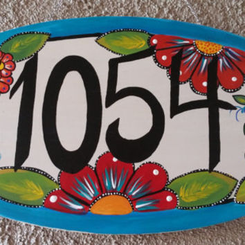 Address sign, house numbers sign, hand painted sign, wood sign, home decor sign,wall hanging, hand painted flowers,Christmas gift