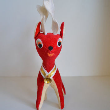 60s Vintage, Red, Stuffed Reindeer.