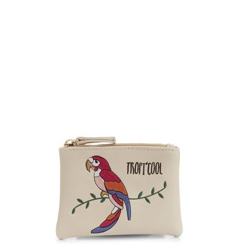 Stone Parrot Embroidered Zip Top Purse