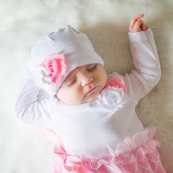 Coming Home Outfit, Take Home Outfit, Going Home Outfit, Layette, Newborn Nightgown, Newborn Dress, Baby Hat, Baby Cap, Baby Shower Gift