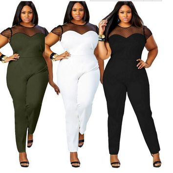Plus Size Sexy Black Jumpsuit Casual Stretch Cotton Jumpsuits With Net Patchwork Fashion Bodysuit NEW