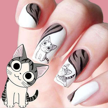 Nail Stickers - 3D Black Cute Cat Design Nail Art Sticker Manicure Decal Tips Decoration