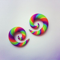 "Mini Tropical Rainbow Gauged Earrings - 0g, 00g, 7/16"", 1/2"" - Polymer Clay"