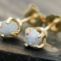 Rough Diamonds in 18k Yellow Gold Earrings