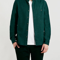 Dark Green Brushed Oxford Long Sleeve Shirt - Topman