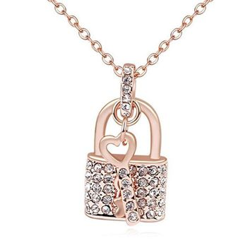 Rose Gold Lock and Key Necklace