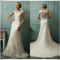 V-Neck Cap Sleeve Wedding Dresses Beaded Lace Mermaid Bridal Gown Custom Size
