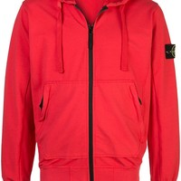Full-Zip Coral Red Hoodie by Stone Island