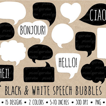 Speech Bubbles Clip Art. Hand Drawn Speech Bubbles. Chalkboard Thought Bubble Illustrations. Black and White Chat Box Graphics.