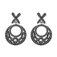 MLOVES Women's Delicate Diamanted Round Earrings