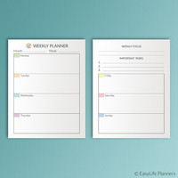 Happy Planner Weekly Planner Inserts Printable Refills Erin Condren 7 x 9.25 Create 365 Me & My Big Ideas Mambi PDF Instant Download
