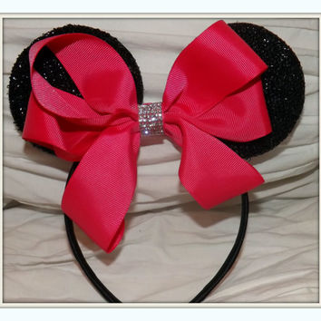 MINNIE MOUSE EARS Headband Black Sparkle with neon pink candy color bow accented with faux diamond  luxury summer edition
