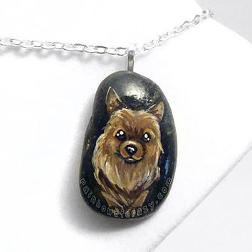 Pomeranian Pendant, Dog Art Necklace, Brown Pom, Pet Painting, Hand Painted Rock, Beach Stone, Memorial Gift, Dog Lovers, Pebble Jewelry