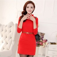 Women : Turtleneck Mini Dress With Long Sleeves YRB0597