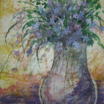 Floral painting original impressionist oversized violet yellow ochre watercolor batik on rice paper 17x24 Marcia McKinzie