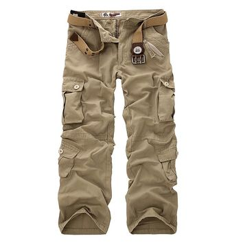 2018  new Men Cargo Pants Multi-pockets Baggy Jean