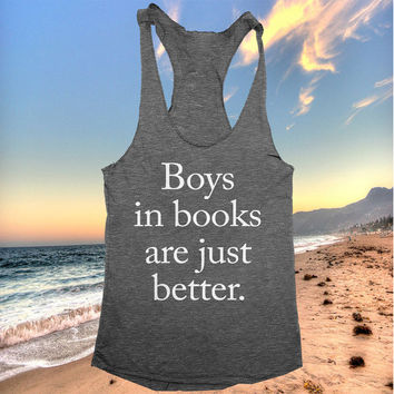 boys in books are just better tank top funny women ladies lady tops fitness yoga crossfit training workout gym summer cool