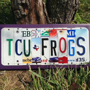 TCU FROGS Custom License Recycled Plate Sign Art Decor Horned Frogs