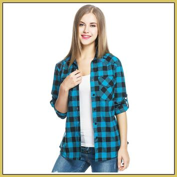 Women's Tartan Plaid Flannel Shirts, Roll up Sleeve Button Down Shirt