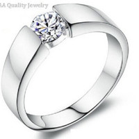 Diamond Ring for Men Vintage Jewelry Crystal- Sterling Silver