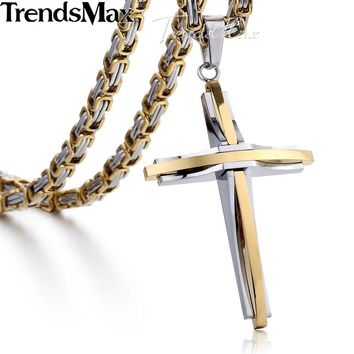 Trendsmax Gold Silver Cross Necklace for Men Stainless Steel Byzantine Chain Men's Pendant Jewelry KPM82