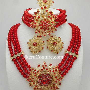 Nkeru Couture Fashionable African Wedding Beads Jewelry Sets   VT557